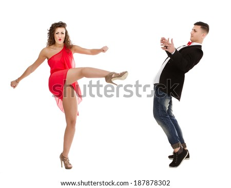 kick and hit in white background - stock photo
