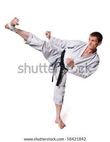 kick.shock.karate warrior on a white background.sports exercise
