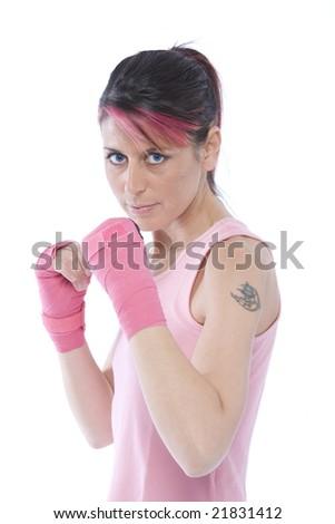 kickboxeing woman - stock photo