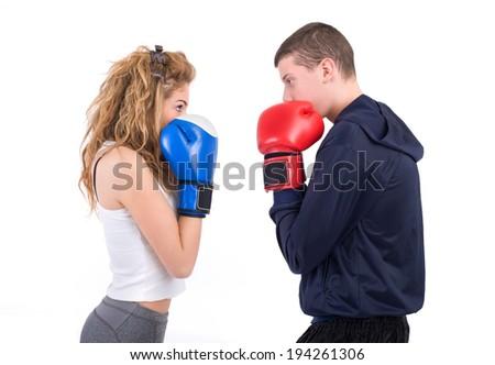 kickboxing fight. Isolated on a white background. Studio shot - stock photo