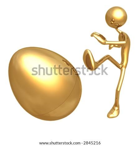 Kicking Gold Nest Egg - stock photo