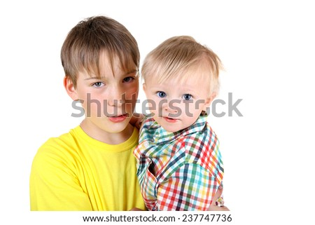 Kid and Baby Boy Portrait Isolated on the White Background