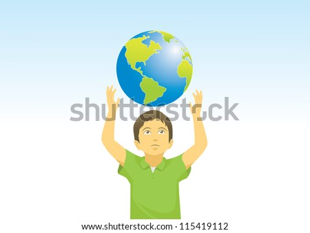 kid and earth - stock photo