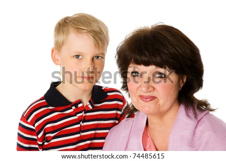 kid and grandmother together isolated on white