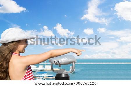 kid and  sea - stock photo