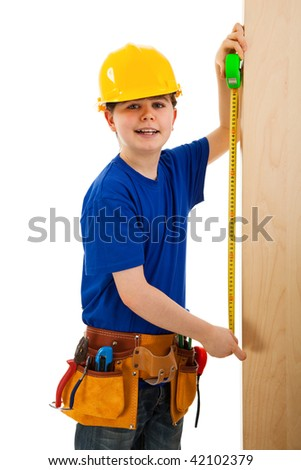 Kid as construction worker isolated on white background - stock photo