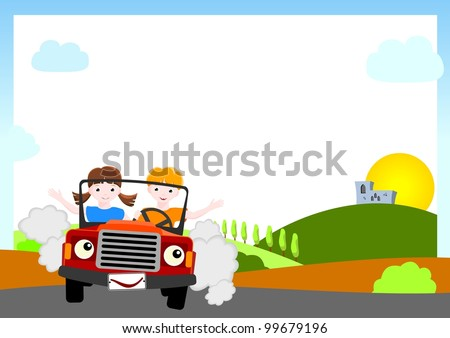 kid bitmap background - boy and girl in red car with medieval castle and sun