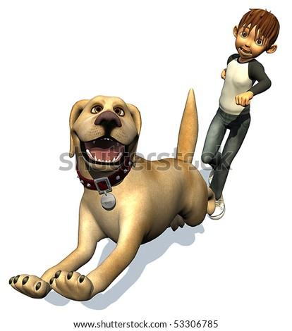 kid boy and his dog - stock photo