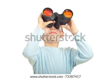 Kid boy looking into binocular isolated on white background - stock photo