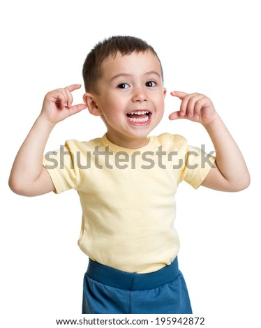 kid boy making funny faces - stock photo