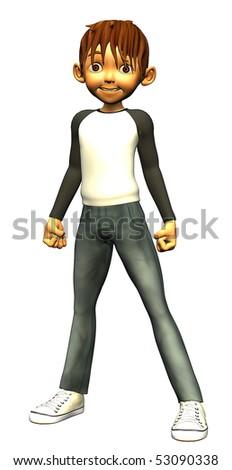 kid boy teen power stand up - stock photo