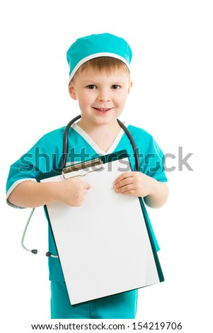 kid boy uniformed as doctor with clipboard - stock photo