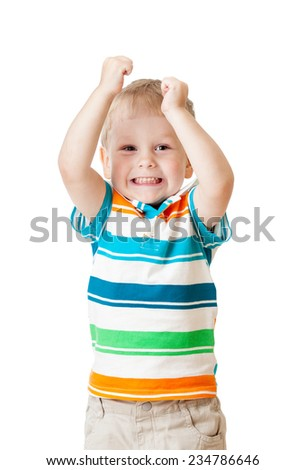 kid boy with hands up isolated on white background - stock photo