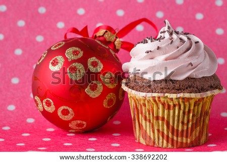 Kid breakfast concept. Cupcake on colored pink background