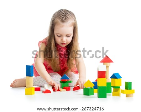 kid child girl playing on floor isolated - stock photo