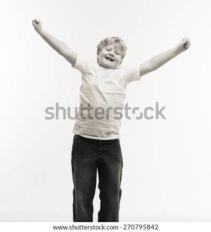 kid child studio boy portrait on white  jumping - stock photo
