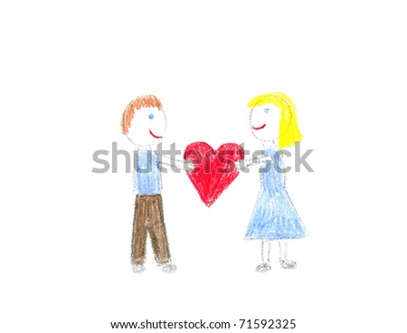 Kid crayon drawing of couple holding heart - drawn by myself - stock photo