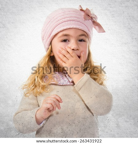 Kid doing surprise gesture  - stock photo
