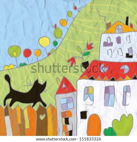 Kid drawing autumn at the village cartoon - stock photo