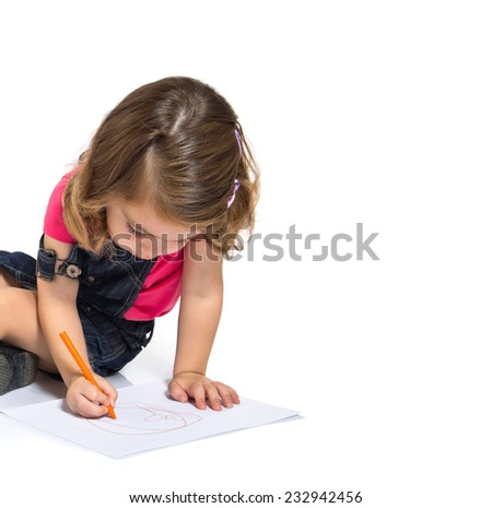 Kid drawing crayons over white background - stock photo