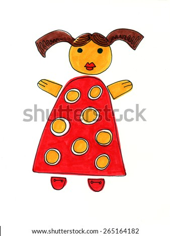 kid drawing like girl toy doll red dress simple sunny