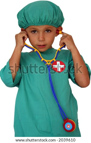 kid dressed as a doctor with stethoscope - stock photo