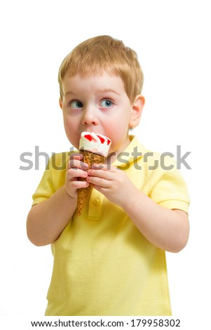 Kid eating ice cream with isolated - stock photo