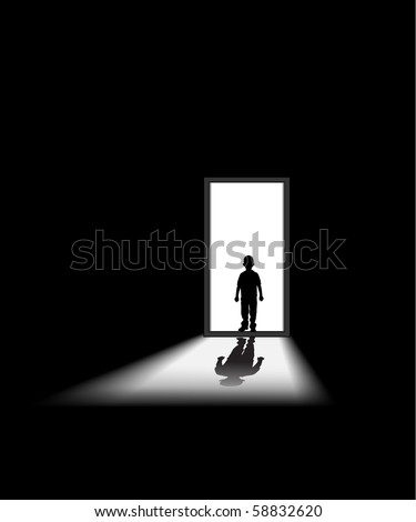 kid enters a dark room, to illustrate concept of unknown and fear - halloween theme