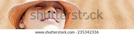 kid face closeup hot summer beach panorama background - stock photo