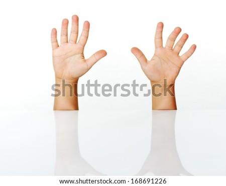 Kid fingers isolated - stock photo