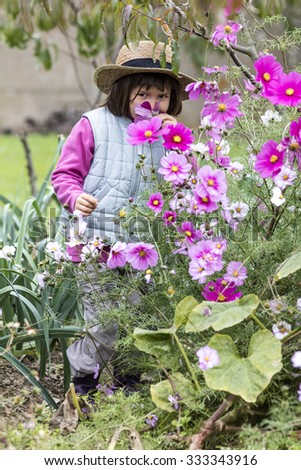 kid gardening concept - happy young child enjoying hiding in purple flowers with straw hat on in home vegetable garden in fall season, outdoors view - stock photo
