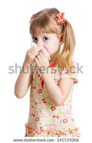 kid girl crying and cleaning nose with tissue isolated on white - stock photo