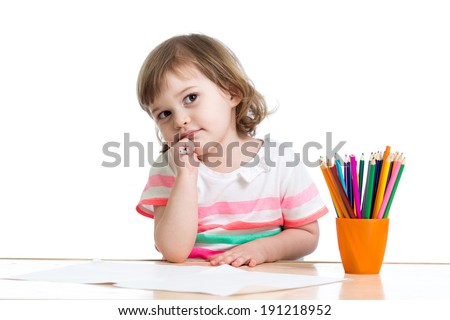 kid girl drawing with color pencils - stock photo