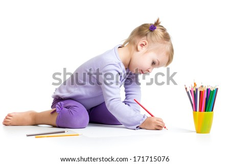 kid girl drawing with colourful pencils