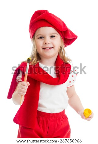 kid girl in artist costume with paint isolated - stock photo