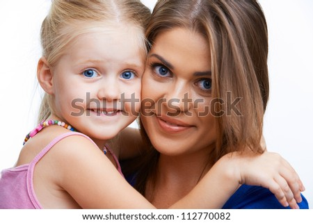 Kid girl isolated portrait with young mother.