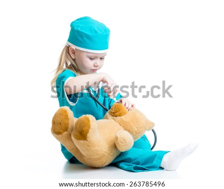 kid girl playing a doctor isolated on white - stock photo