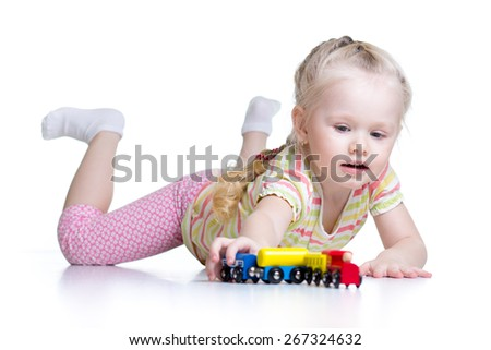 kid girl playing with wooden toys isolated on white - stock photo