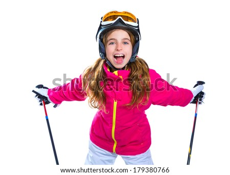 kid girl with ski poles helmet and goggles smiling on white background - stock photo