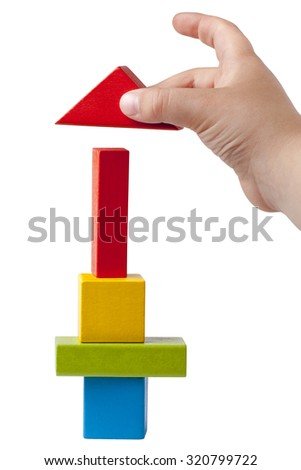 Kid Hand Building Multicolor High Tower Bricks Isolated