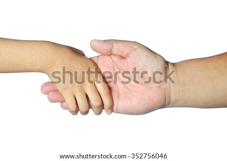 kid hand hold adult fingers isolated on white
