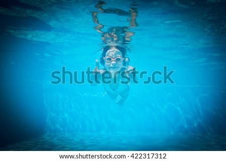 Kid having fun in swimming pool. Underwater portrait of child. Summer vacation - stock photo