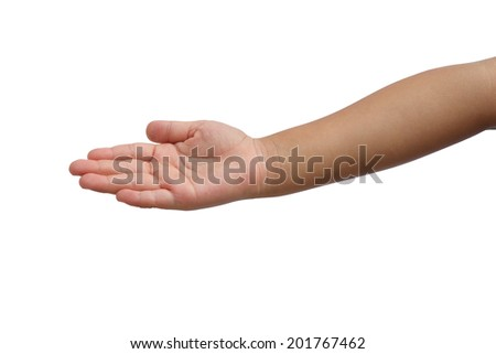 Kid hold out one's hand on isolated white background