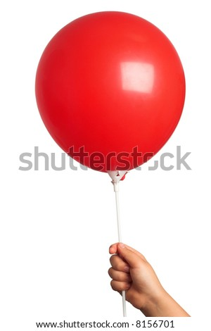 kid holding a red balloon in hand(work  path included) - stock photo