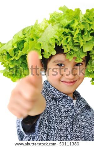 Kid holding salad hat - stock photo