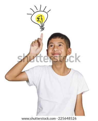 Kid idea on white background - stock photo