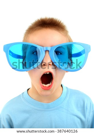 Kid in Big Blue Glasses Isolated on the White Background