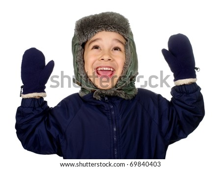 Kid in winter clothes looking up happy smiling, seven years old, isolated on pure white background - stock photo