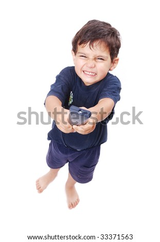 Kid is pressing remote control button to change adult - stock photo
