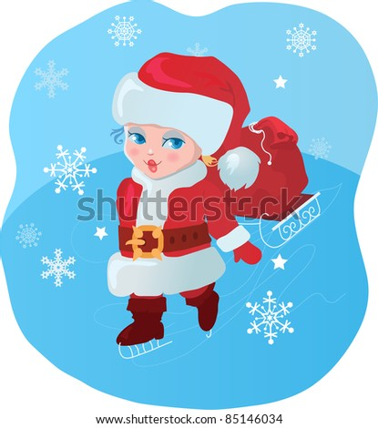 Kid like Santa with gifts vector illustration